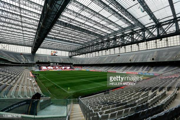 General view of the Arena da Baixada stadium taken before the closed-door Copa Libertadores group phase football match between Brazil's Athletico...