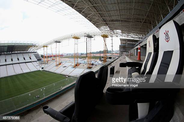 A general view of the Arena de Sao Paulo venue for the FIFA 2014 World Cup Brazil ahead on December 16 2013 in Sao Paulo Brazil
