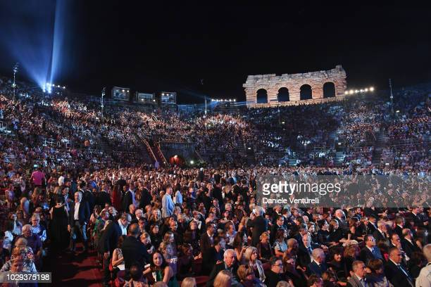 General view of the Arena di Verona during the Celebrity Fight Night at Arena di Verona on September 8 2018 in Verona Italy