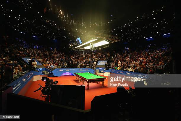 A general view of the arena during a break in the semi final match between Marco Fu of Hong Kong and Mark Selby of England on day fourteen of the...