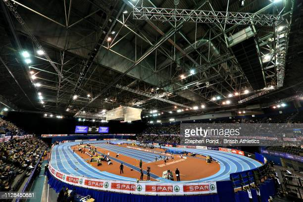 A general view of the arena during Heat 5 of the Men's 60m during Day One of the SPAR British Athletics Indoor Championships at Arena Birmingham on...