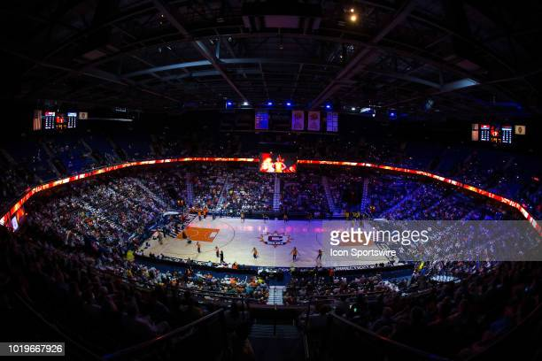 A general view of the arena during player introductions prior to the WNBA game between Los Angeles Sparks and Connecticut Sun on August 19 at Mohegan...