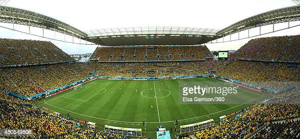 A general view of the arena during the 2014 FIFA World Cup Brazil Group A match between Brazil and Croatia at Arena de Sao Paulo on June 12, 2014 in Sao Paulo, Brazil.