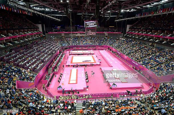 General view of the arena during the Artistic Gymnastics competition on Day 11 of the London 2012 Olympic Games at North Greenwich Arena on August 7...