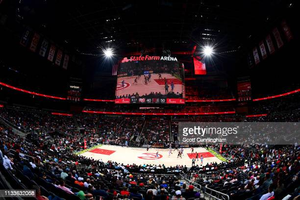 A general view of the arena during the game between the Atlanta Hawks adn Portland Trail Blazers on March 29 2019 at State Farm Arena in Atlanta...