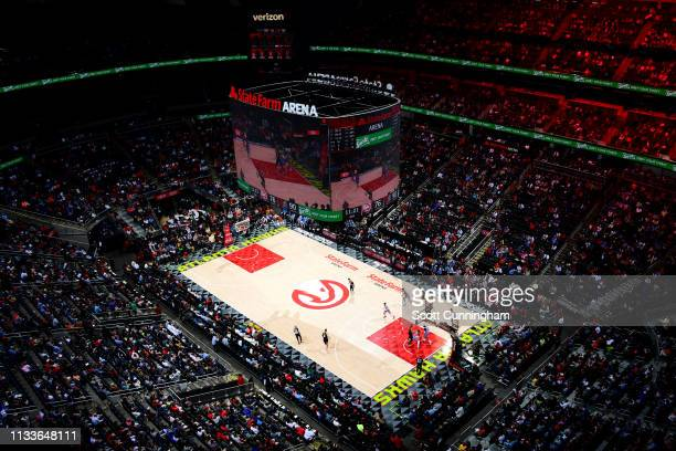 General view of the arena during the game between the Atlanta Hawks and Portland Trail Blazers on March 29, 2019 at State Farm Arena in Atlanta,...