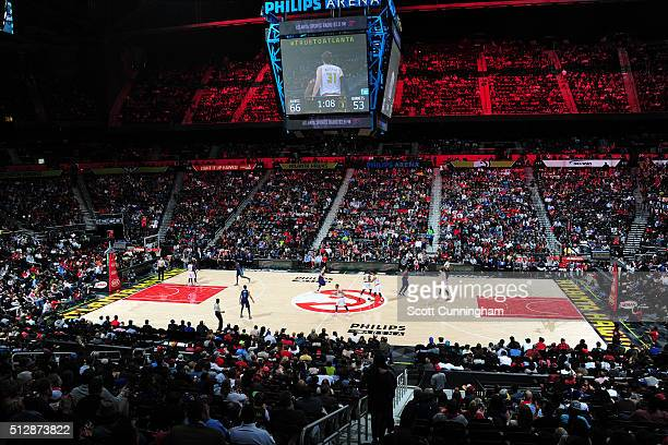 A general view of the arena during the game between the Atlanta Hawks and the Charlotte Hornets on February 28 2016 at Philips Center in Atlanta...