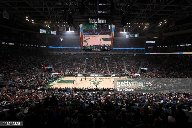 A general view of the arena during the game between the Brooklyn Nets and Milwaukee Bucks on April 6 2019 at the Fiserv Forum Center in Milwaukee...