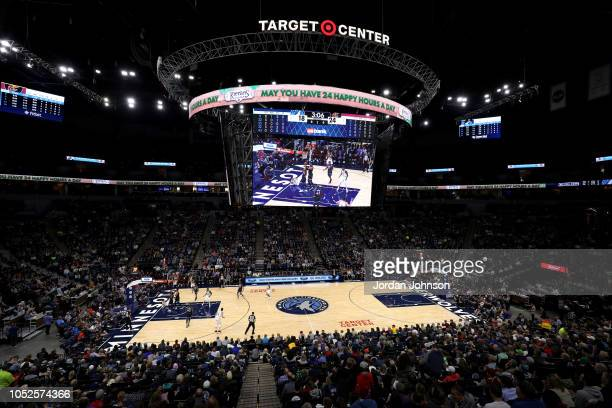 General view of the arena during the game between the Cleveland Cavaliers and the Minnesota Timberwolves on October 19, 2018 at Target Center in...
