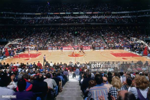 A general view of the arena during the game between the New York Knicks and the Chicago Bulls on December 6 1995 at the United Center in Chicago...