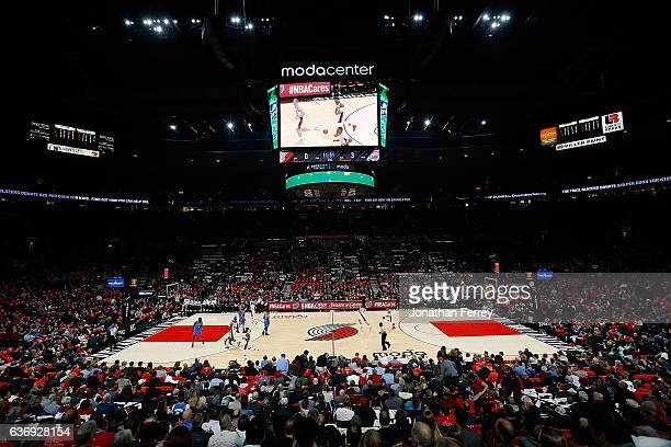 A general view of the arena during the game between the Oklahoma City Thunder and the Portland Trail Blazers at Moda Center on December 13 2016 in...