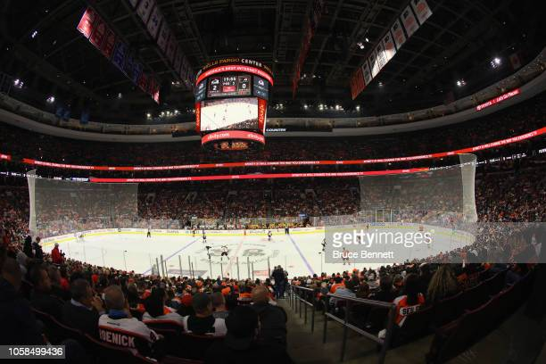 A general view of the arena during the game between the Philadelphia Flyers and the Colorado Avalanche at the Wells Fargo Center on October 22 2018...