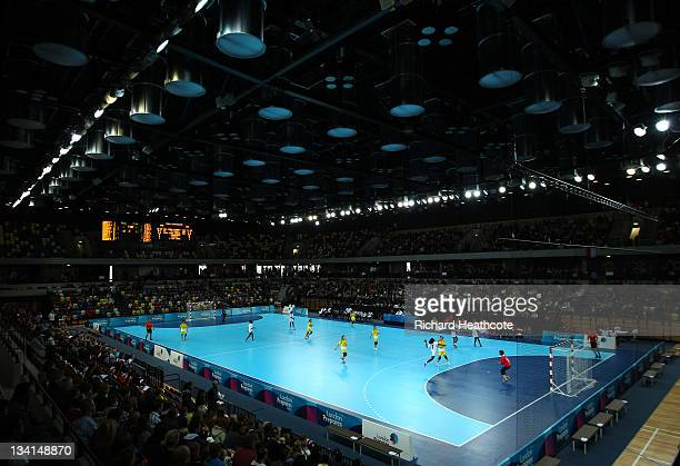 General view of the arena during the London Handball Cup Finals at the Handball Arena inside the Olympic Park on November 27, 2011 in London, England.