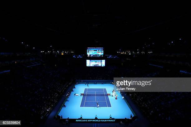 A general view of the arena during the men's singles match between Gael Monfils of France and Dominic Thiem of Austria on day three of the ATP World...