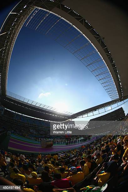 General view of the arena during the Opening Ceremony of the 2014 FIFA World Cup Brazil prior to the Group A match between Brazil and Croatia at...