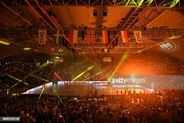 General view of the arena during the opening ceremony prior to the handball International friendly between Germany and Norway at Olympiahalle on June...