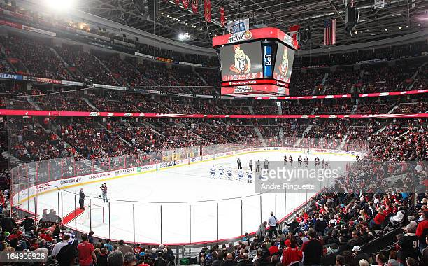 A general view of the arena during the singing of the national anthems prior to a game between the Ottawa Senators and Tampa Bay Lightning on March...