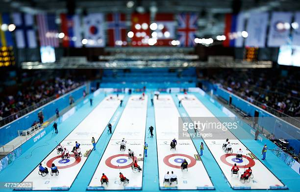 A general view of the arena during the wheelchair curling mixed round robin session 3 matches at the Ice Cube Curling Center on March 9 2014 in Sochi...