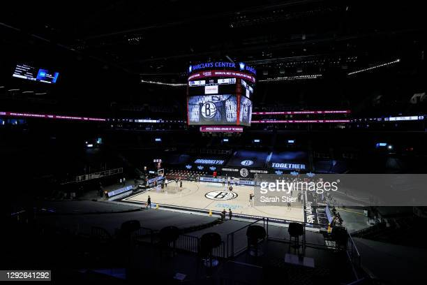 General view of the arena during warmups before the game between the Golden State Warriors and the Brooklyn Nets at Barclays Center on December 22,...