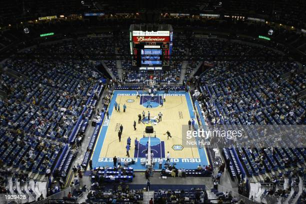 General view of the arena during warmups for the NBA game between the Cleveland Cavaliers and the New Orleans Hornets at the New Orleans Arena on...