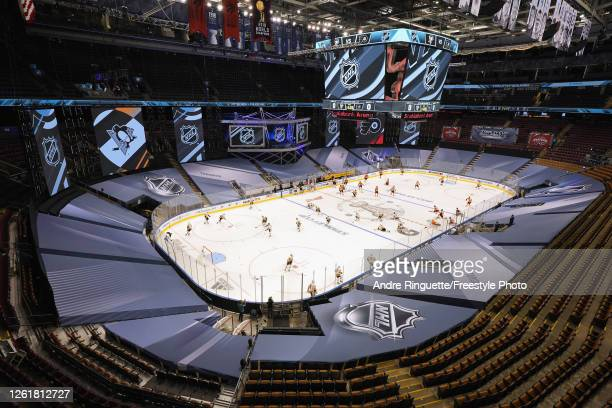 General view of the arena during warm-ups prior to an exhibition game between the Pittsburgh Penguins and the Philadelphia Flyers before the start of...