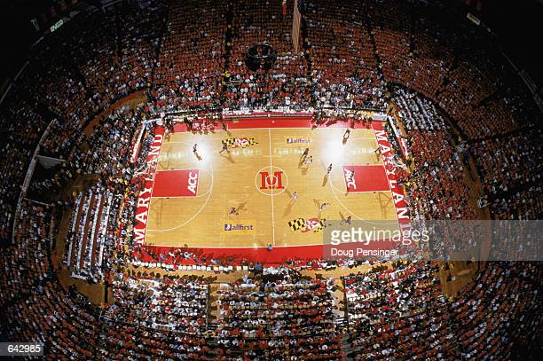 General view of the arena from above during the ACC basketball game between the University of Virginia Cavaliers and the University of Maryland...
