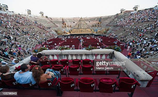 A general view of the Arena from the Royal Box before the performance of 'Aida' on August 8 2010 in Verona Italy The city of Verona is hosting the...