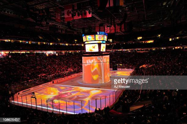 A general view of the arena is seen as images from 'The Guardian Project' are projected onto the rink during the 58th NHL AllStar Game at the RBC...