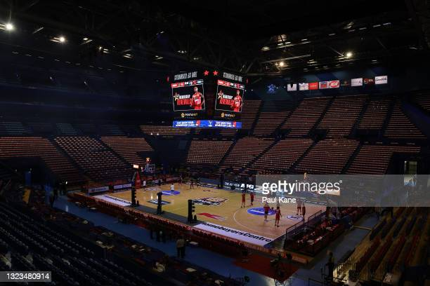 General view of the arena is seen as players warm up before game three of the NBL Semi-Final Series between the Perth Wildcats and the Illawarra...