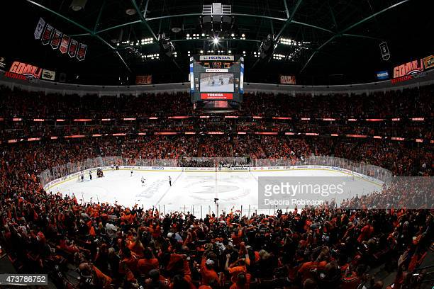 A general view of the arena is seen during Game One of the Western Conference Finals during the 2015 NHL Stanley Cup Playoffs at Honda Center on May...
