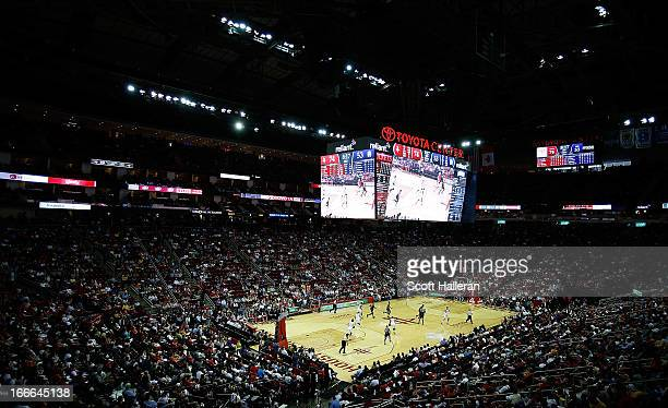 A general view of the arena is seen during the game between the Houston Rockets and the Sacramento Kings at the Toyota Center on April 14 2013 in...