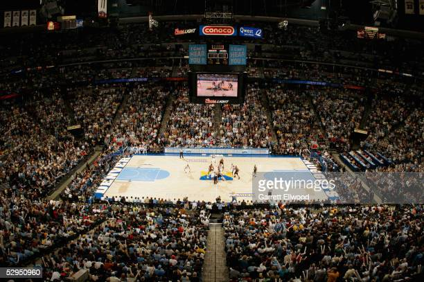 A general view of the arena is shown during the Denver Nuggets game against the San Antonio Spurs in Game three of the Western Conference...