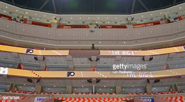 A general view of the arena is shown prior to the Eric Lindros Jersey Retirement Night ceremony on January 18 2018 at the Wells Fargo Center in...