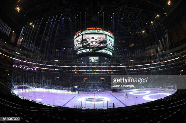 A general view of the arena on Hockey Fights Cancer night before a game between the Montreal Canadiens and the Los Angeles Kings at STAPLES Center on...