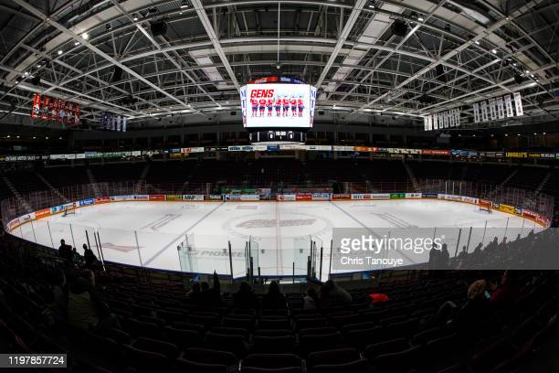 General view of the arena prior to an OHL game between the Peterborough Petes and Oshawa Generals at the Tribute Communities Centre on January 31,...