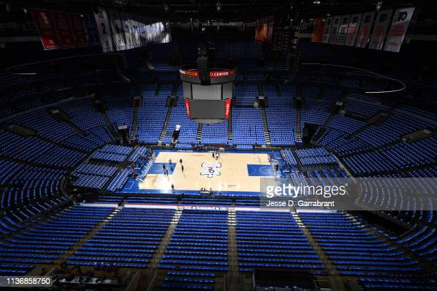 General view of the arena prior to Game One of Round One of the 2019 NBA Playoffs on April 13, 2019 at the Wells Fargo Center in Philadelphia,...