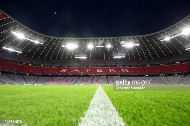 General view of the arena prior to the Bundesliga match between FC Bayern Muenchen and SC Paderborn 07 at Allianz Arena on February 21, 2020 in...