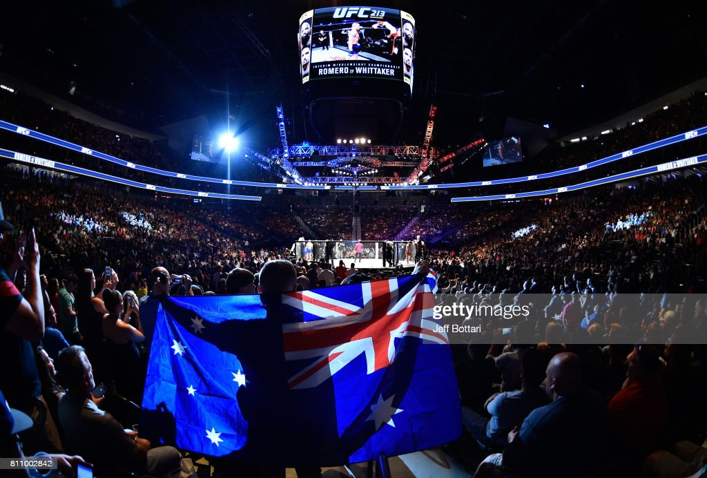 A general view of the arena prior to the interim UFC middleweight championship bout betwee Robert Whittaker of New Zealand and Yoel Romero of Cuba during the UFC 213 event at T-Mobile Arena on July 8, 2017 in Las Vegas, Nevada.