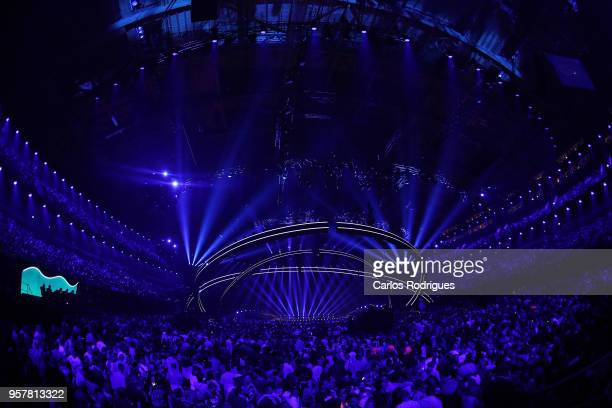 A general view of the arena seen from the green room during the Eurovision 2018 Grand Final at Altice Arena on May 12 2018 in Lisbon Portugal