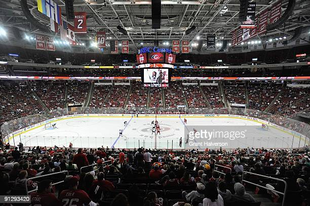 A general view of the arena taken during the game between the Carolina Hurricanes and the Atlanta Thrashers at the RBC Center on September 25 2009 in...