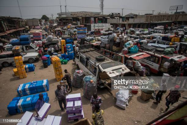 A general view of the Ariaria International Market in Aba a city in one of the proBiafran separatist regions on February 14 2019 Nigerians are...
