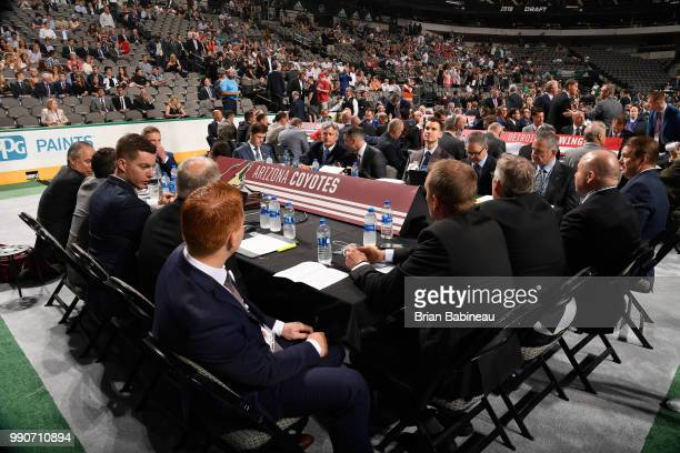 A general view of the Arizona Coyotes draft table is seen during the first round of the 2018 NHL Draft at American Airlines Center on June 22 2018 in...