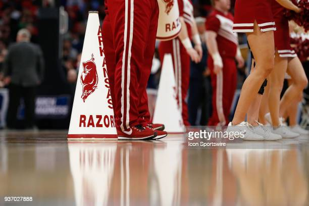 A general view of the Arkansas cheerleaders megaphones is seen during the NCAA Division I Men's Championship First Round basketball game between the...