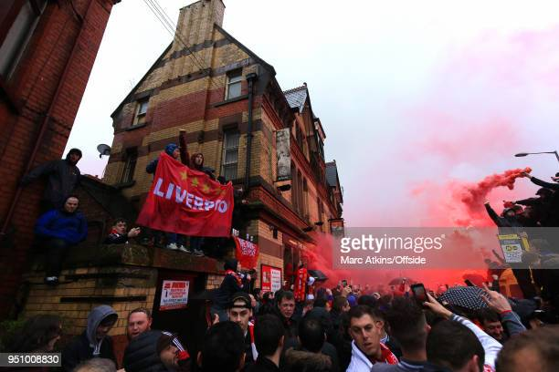 A general view of the Arkles pub as fans fill the streets with flares and smoke bombs prior to the UEFA Champions League Semi Final First Leg match...
