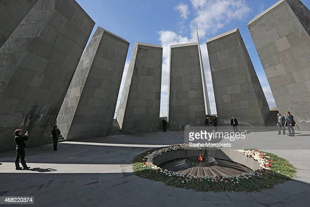 A general view of the Armenian Genocide Memorial complex at Tsitsenakaberd hill on March 31 2015 in Yerevan Armenia Russian State Duma Speaker Sergei...