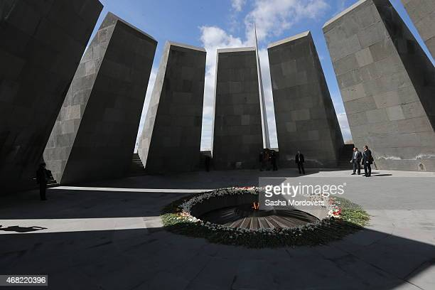 General view of the Armenian Genocide Memorial complex at Tsitsenakaberd hill on March 31, 2015 in Yerevan, Armenia. Russian State Duma Speaker...