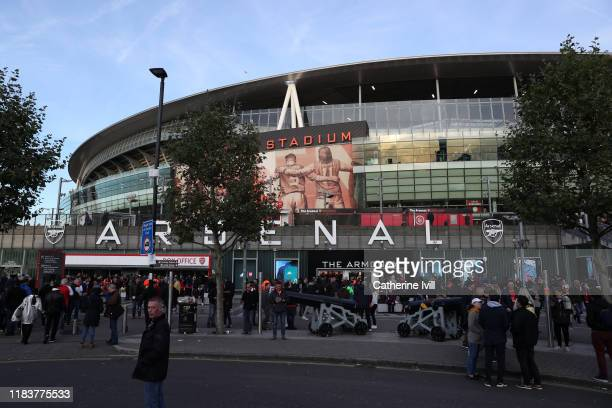 General view of The Armoury Club Shop following a traffic incident ahead of the Premier League match between Arsenal FC and Crystal Palace at...