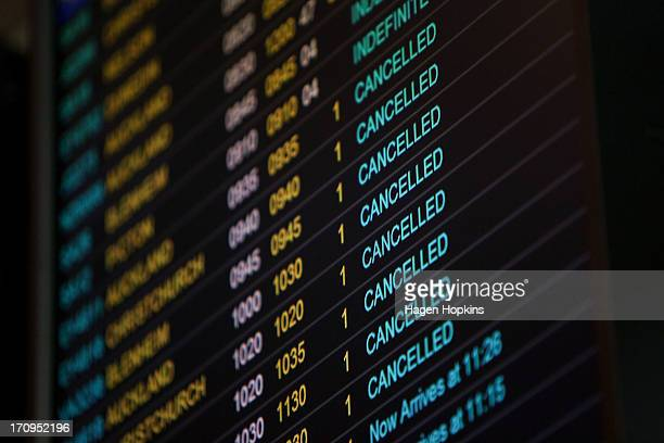 A general view of the arrivals board at Wellington Airport after numerous flights were either delayed or cancelled by a large storm on June 21 2013...