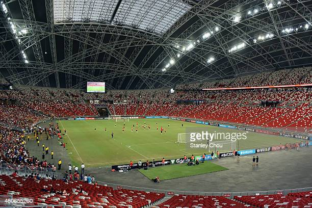 General view of the Arsenal team during training ahead of the match between Arsenal and Singapore during the 2015 Barclays Asia Trophy Tournament at...