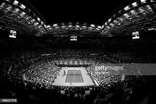 A general view of the Arthur Ashe court during the 4th Round match between Novak Djokovic of Serbia and Kyle Edmunds of Great Britain on Day Seven of...